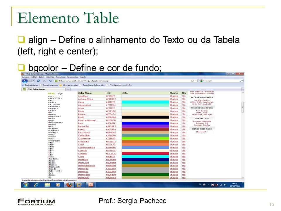 Elemento Table align – Define o alinhamento do Texto ou da Tabela (left, right e center); bgcolor – Define e cor de fundo;