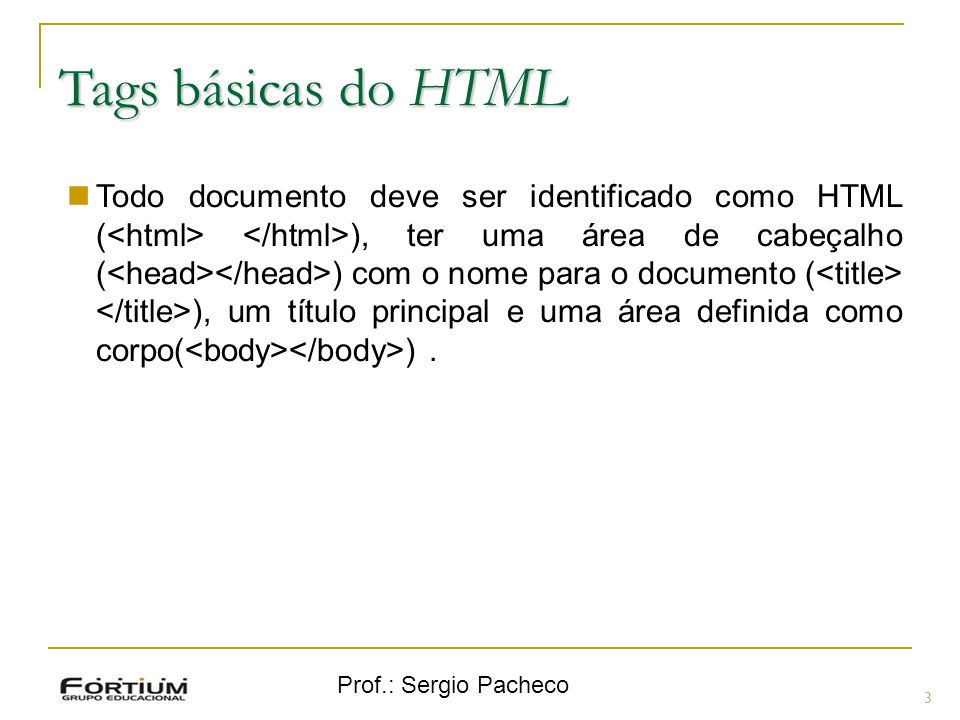 Tags básicas do HTML
