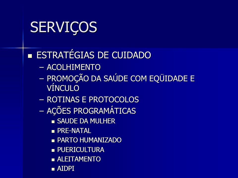 SERVIÇOS ESTRATÉGIAS DE CUIDADO ACOLHIMENTO
