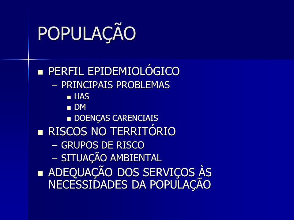POPULAÇÃO PERFIL EPIDEMIOLÓGICO RISCOS NO TERRITÓRIO
