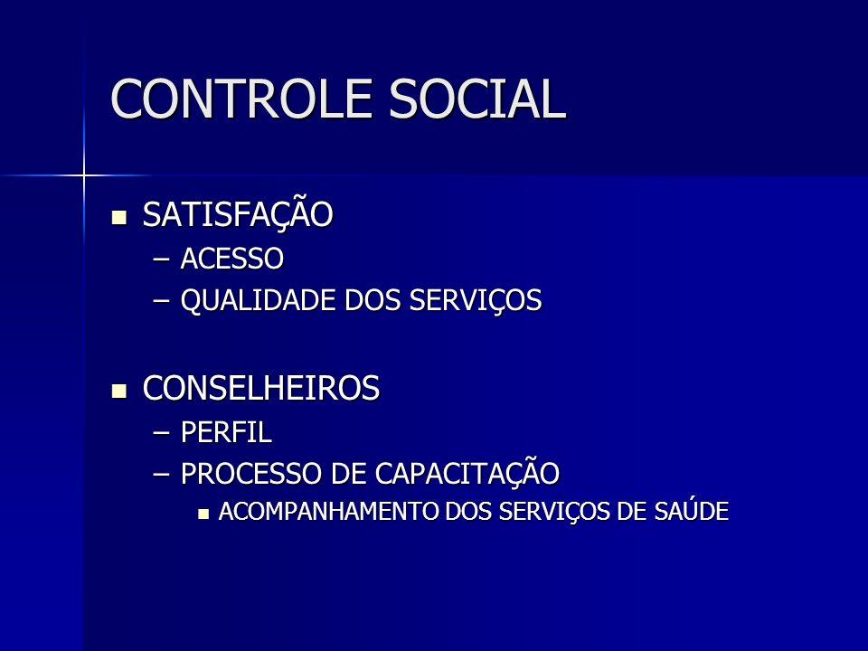CONTROLE SOCIAL SATISFAÇÃO CONSELHEIROS ACESSO QUALIDADE DOS SERVIÇOS