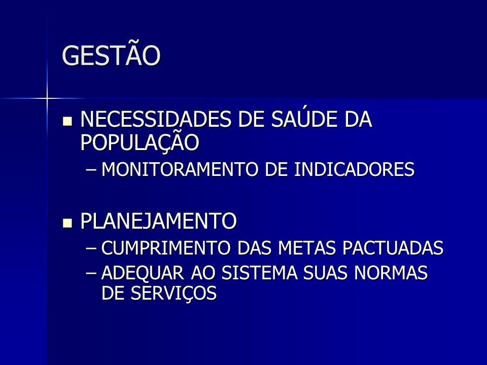 GESTÃO NECESSIDADES DE SAÚDE DA POPULAÇÃO PLANEJAMENTO