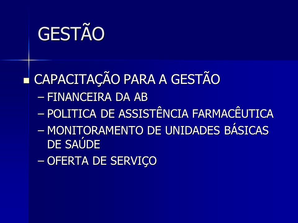 GESTÃO CAPACITAÇÃO PARA A GESTÃO FINANCEIRA DA AB