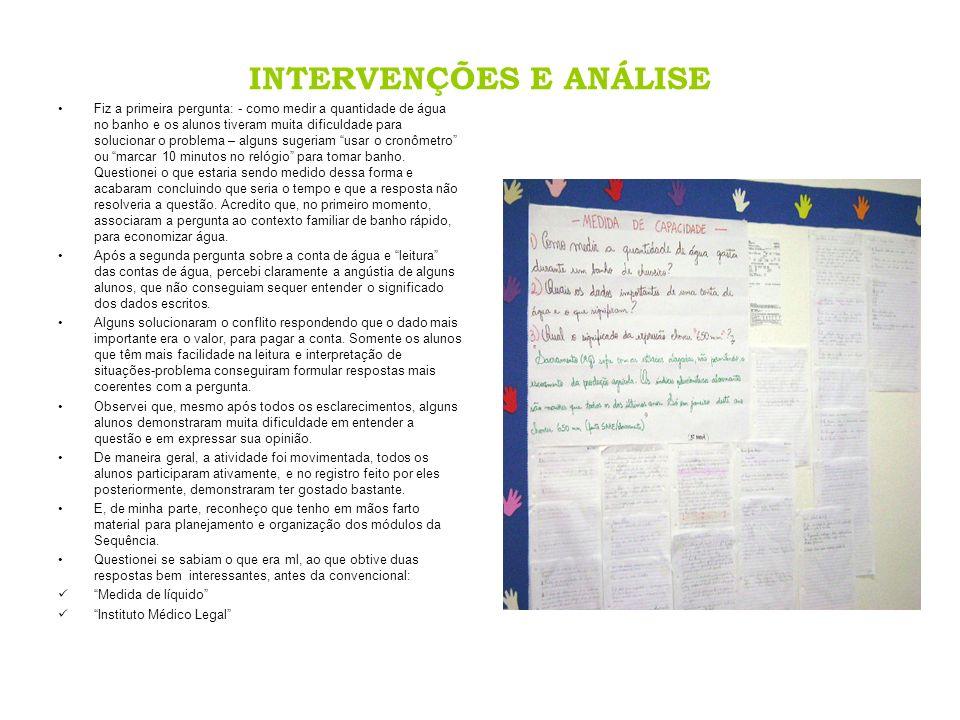 INTERVENÇÕES E ANÁLISE