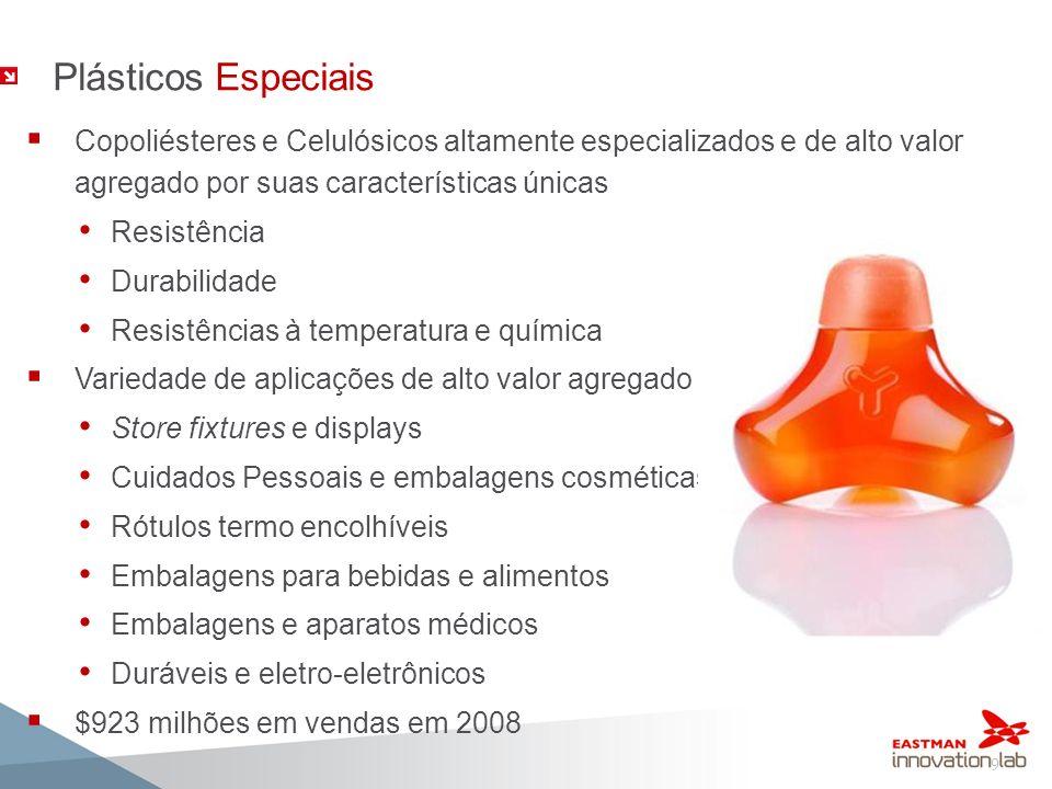 Plásticos Especiais Copoliésteres e Celulósicos altamente especializados e de alto valor agregado por suas características únicas.