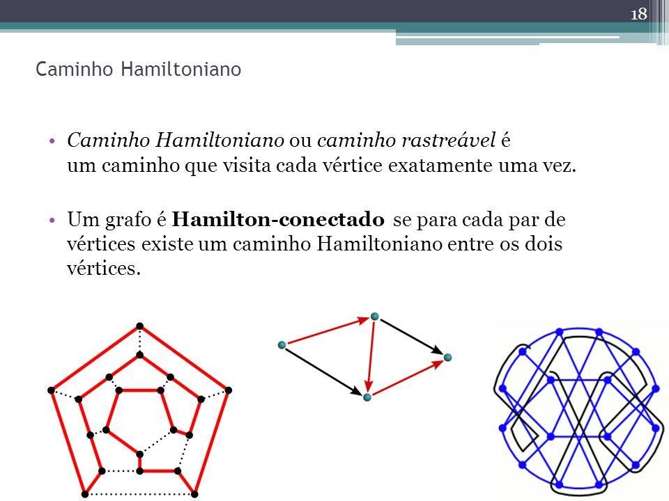 Caminho Hamiltoniano Caminho Hamiltoniano ou caminho rastreável é um caminho que visita cada vértice exatamente uma vez.