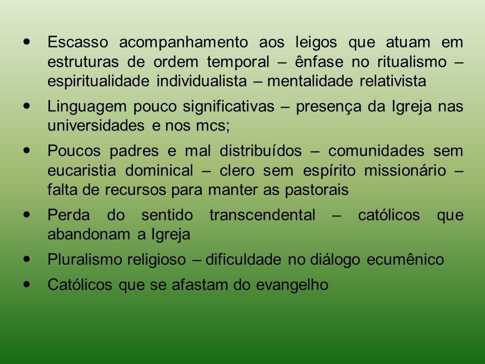 Escasso acompanhamento aos leigos que atuam em estruturas de ordem temporal – ênfase no ritualismo – espiritualidade individualista – mentalidade relativista