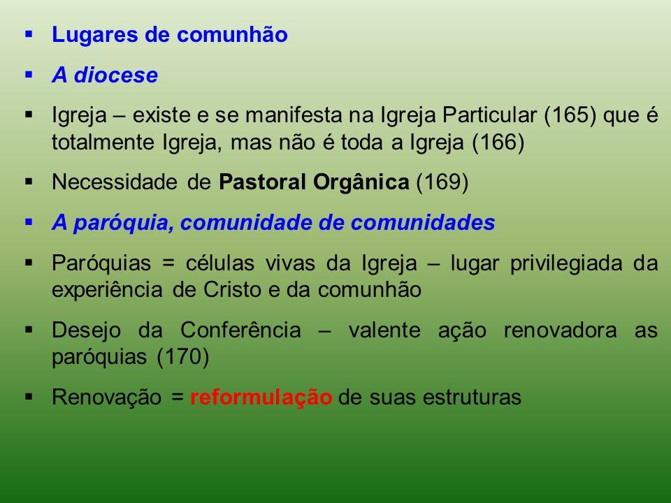 Lugares de comunhãoA diocese. Igreja – existe e se manifesta na Igreja Particular (165) que é totalmente Igreja, mas não é toda a Igreja (166)