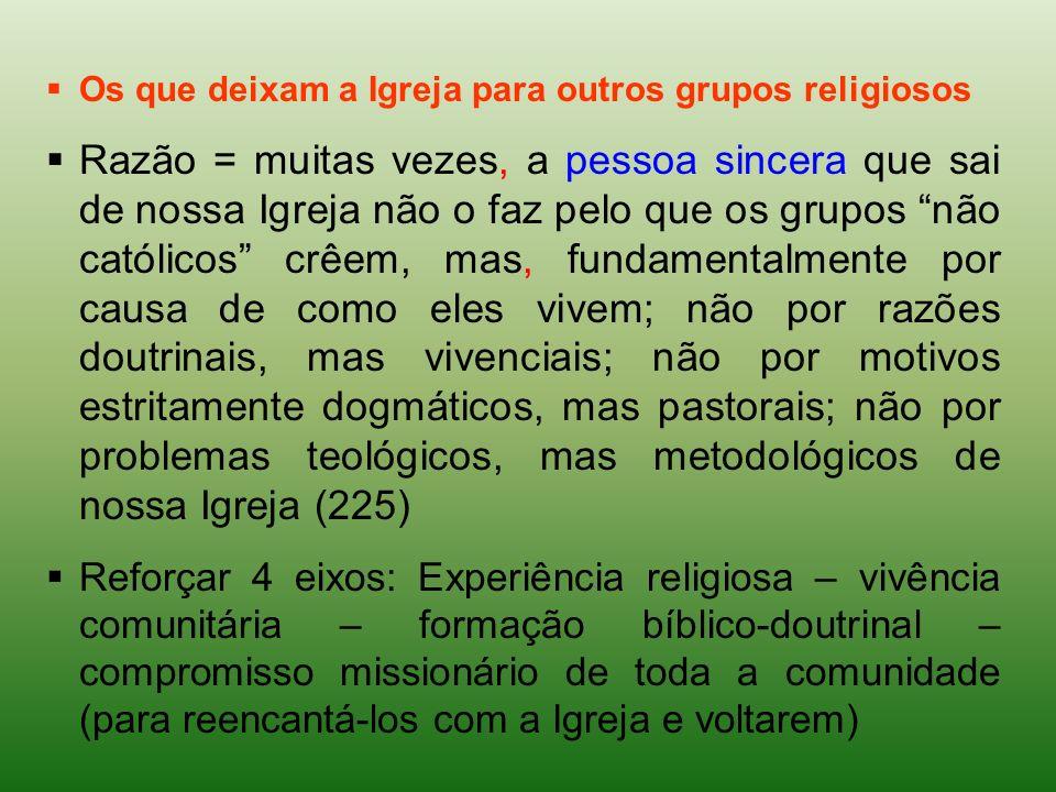 Os que deixam a Igreja para outros grupos religiosos