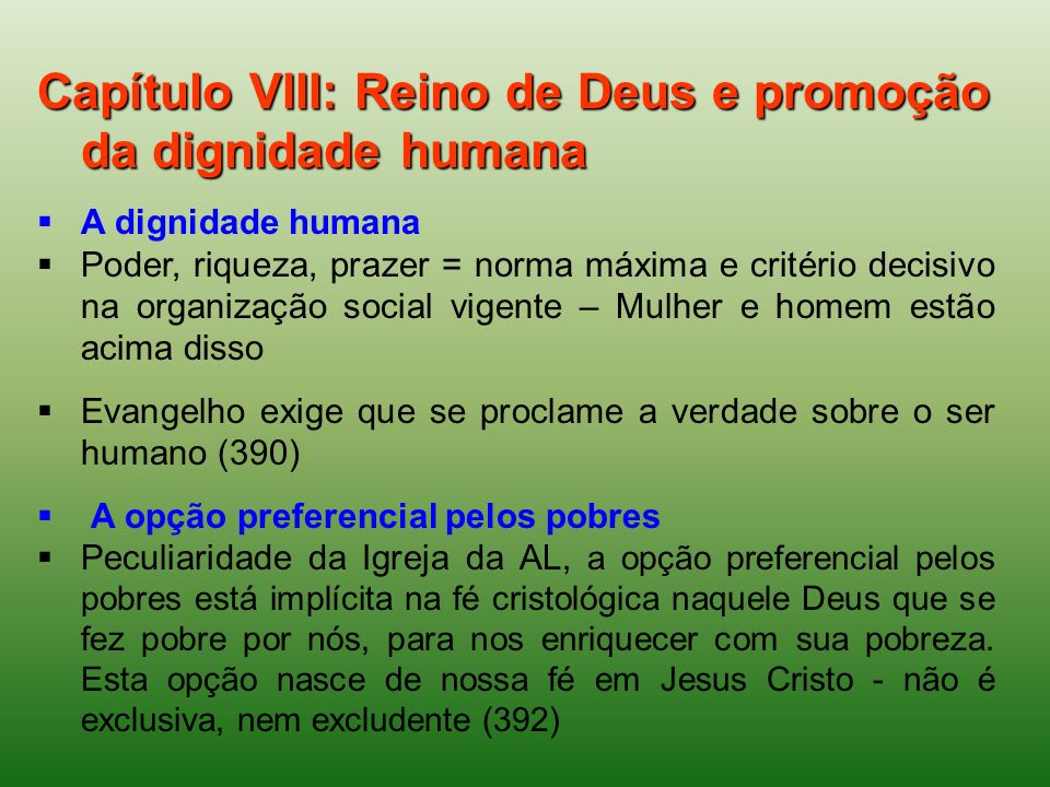 Capítulo VIII: Reino de Deus e promoção da dignidade humana