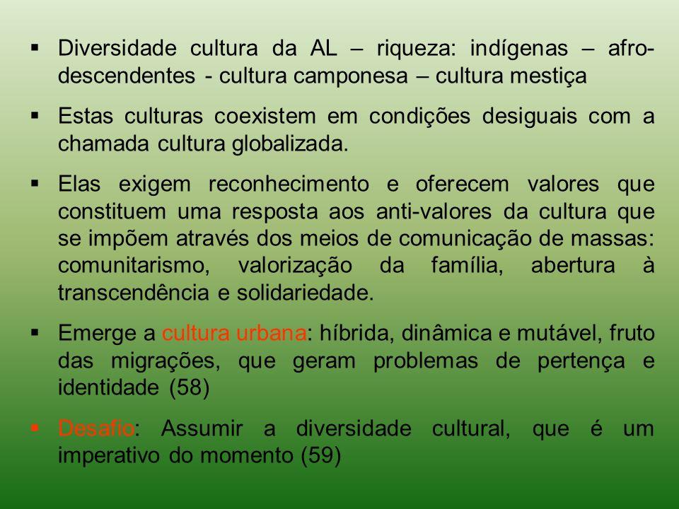 Diversidade cultura da AL – riqueza: indígenas – afro-descendentes - cultura camponesa – cultura mestiça