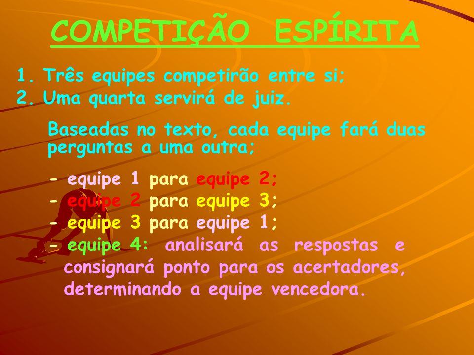 COMPETIÇÃO ESPÍRITA 1. Três equipes competirão entre si;