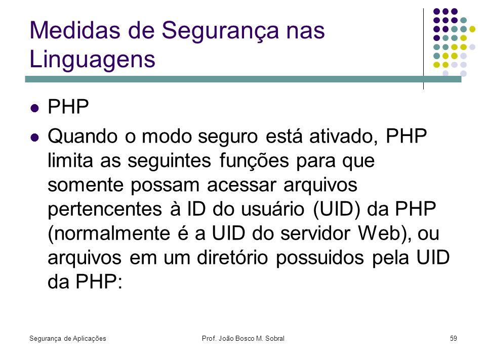 Medidas de Segurança nas Linguagens