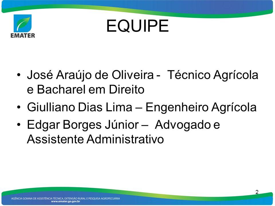 EQUIPE José Araújo de Oliveira - Técnico Agrícola e Bacharel em Direito. Giulliano Dias Lima – Engenheiro Agrícola.