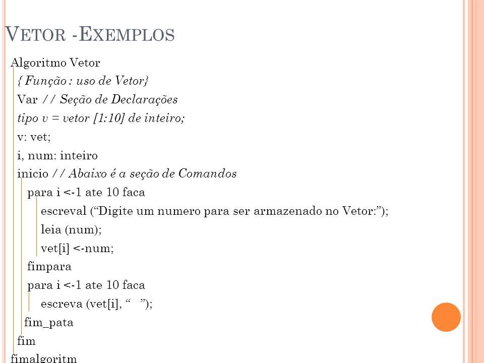 Vetor -Exemplos