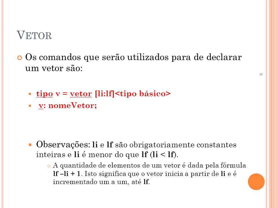 Vetor Os comandos que serão utilizados para de declarar um vetor são: