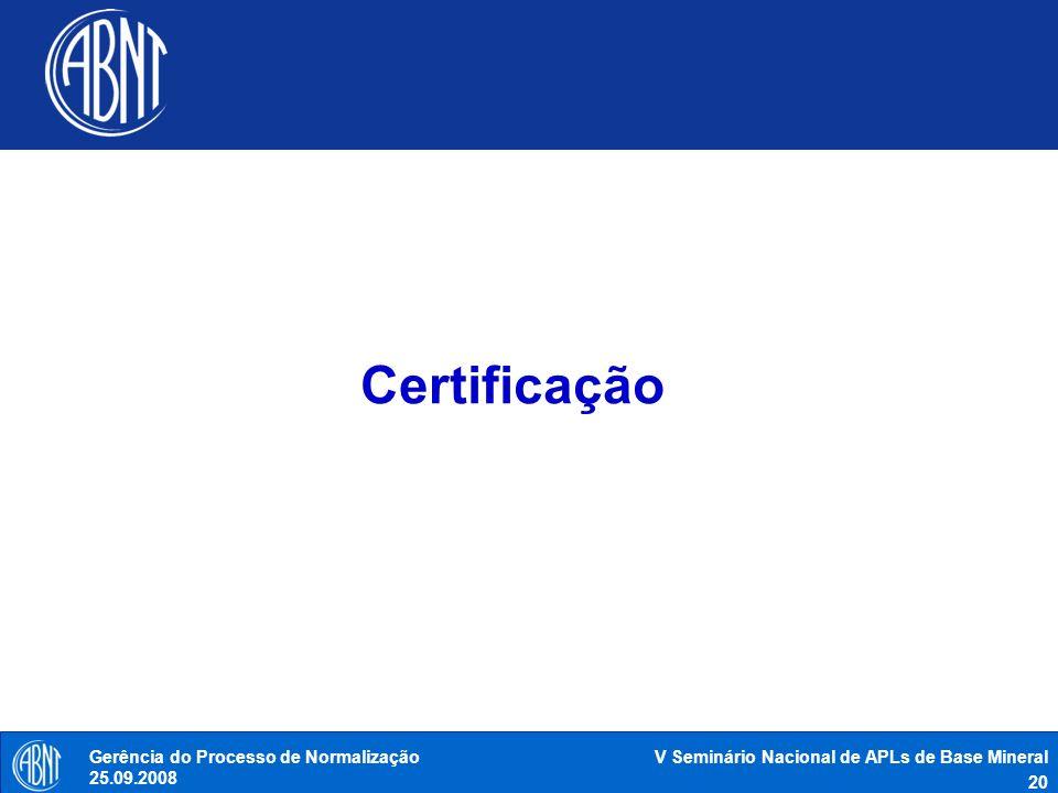 Certificação Gerência do Processo de Normalização 25.09.2008