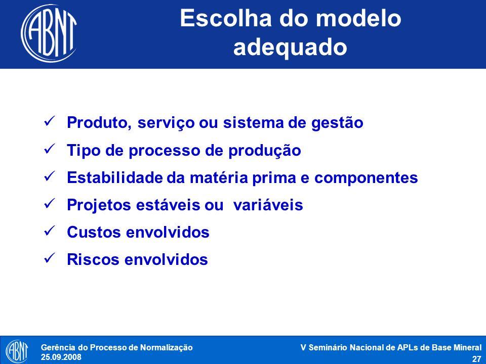 Escolha do modelo adequado