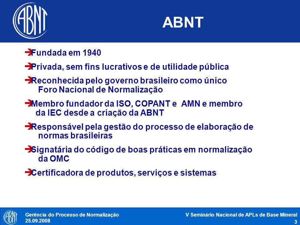 ABNT Fundada em 1940. Privada, sem fins lucrativos e de utilidade pública.