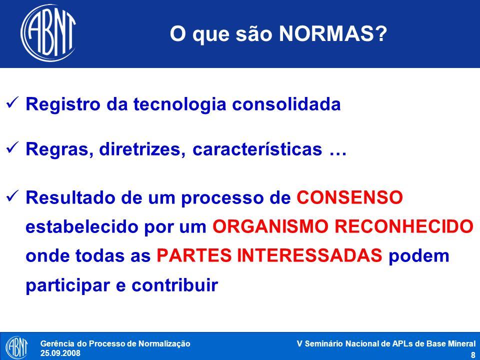 O que são NORMAS Registro da tecnologia consolidada