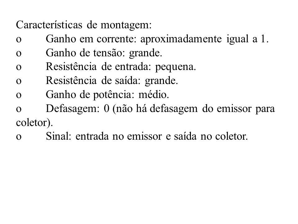 Características de montagem: