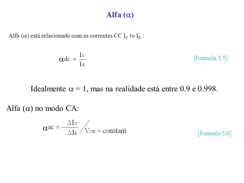 Idealmente  = 1, mas na realidade está entre 0.9 e 0.998.