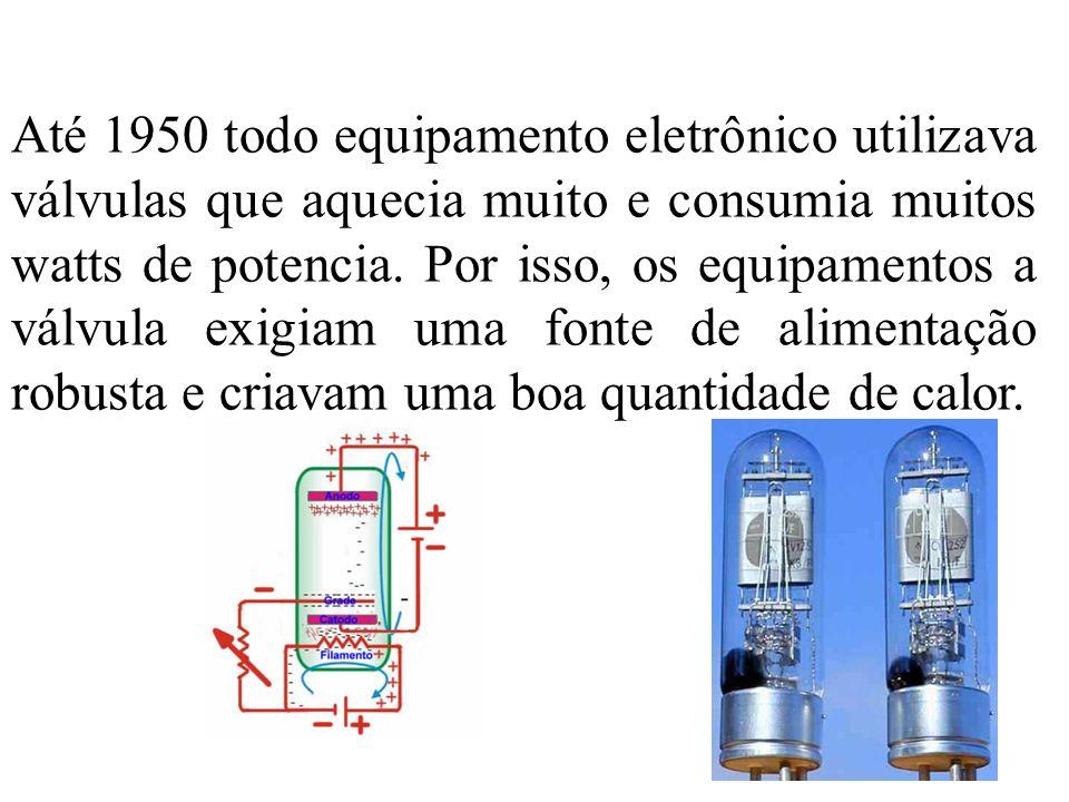 Até 1950 todo equipamento eletrônico utilizava válvulas que aquecia muito e consumia muitos watts de potencia.