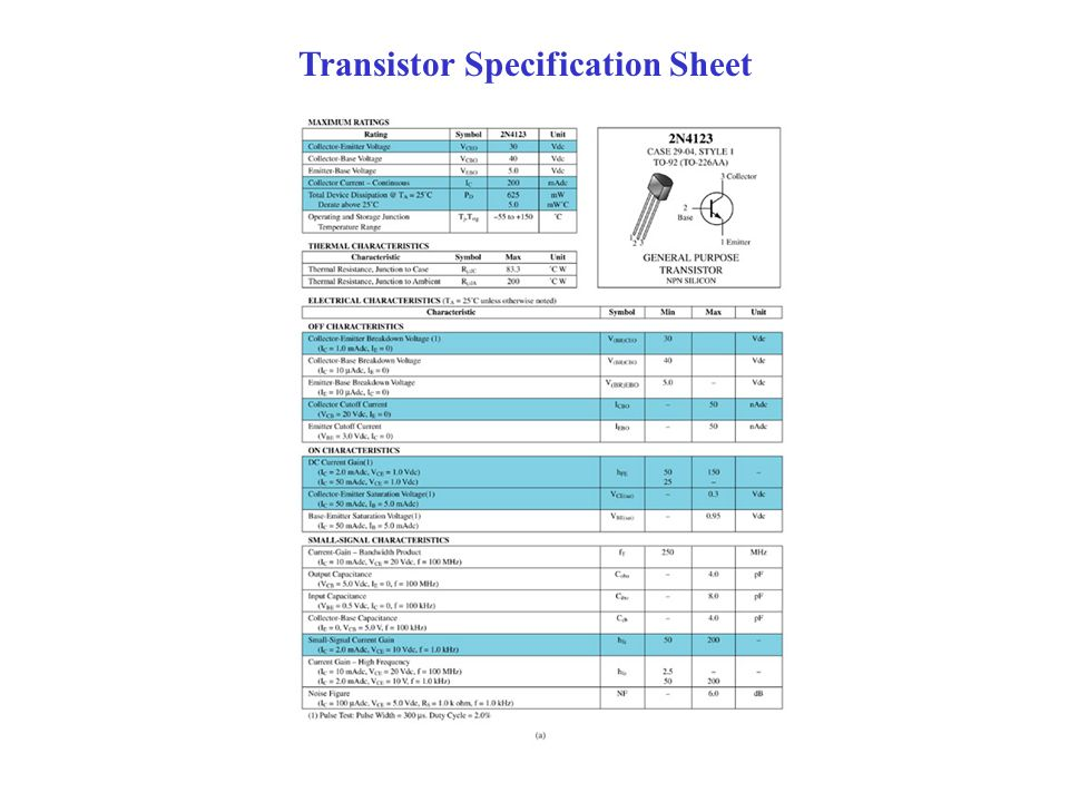 Transistor Specification Sheet