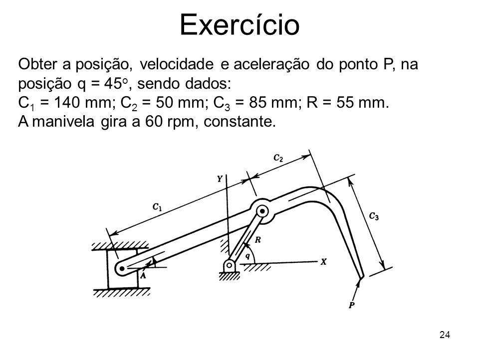 Exercício Obter a posição, velocidade e aceleração do ponto P, na posição q = 45o, sendo dados: C1 = 140 mm; C2 = 50 mm; C3 = 85 mm; R = 55 mm.