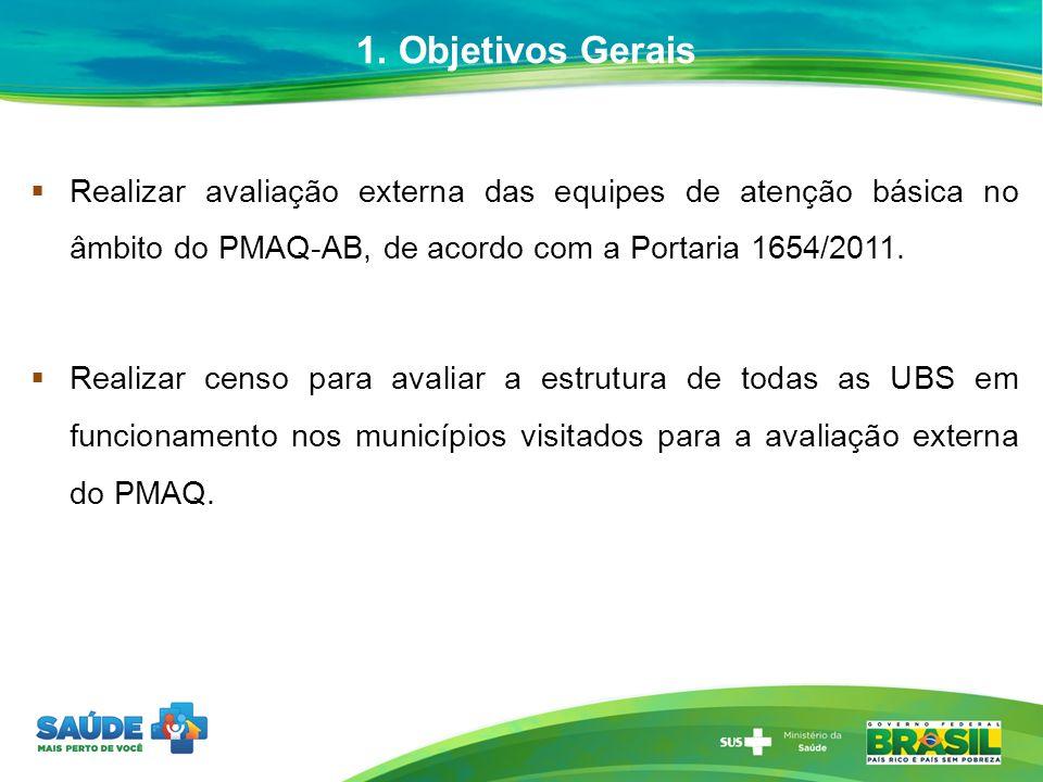 1. Objetivos Gerais Realizar avaliação externa das equipes de atenção básica no âmbito do PMAQ-AB, de acordo com a Portaria 1654/2011.