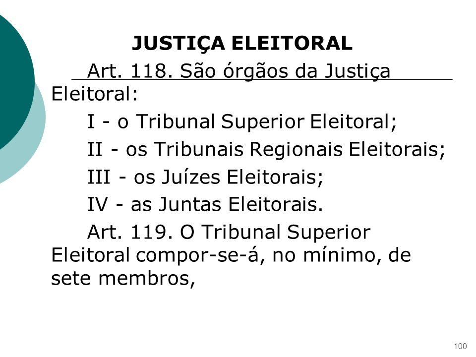 JUSTIÇA ELEITORAL Art. 118.