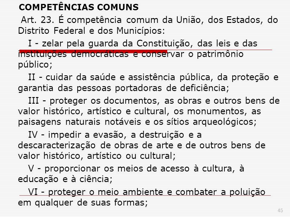 COMPETÊNCIAS COMUNS Art. 23