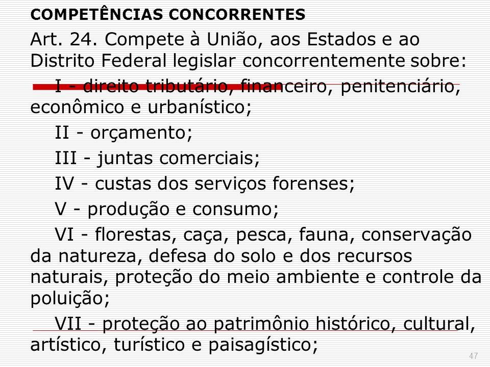 COMPETÊNCIAS CONCORRENTES Art. 24