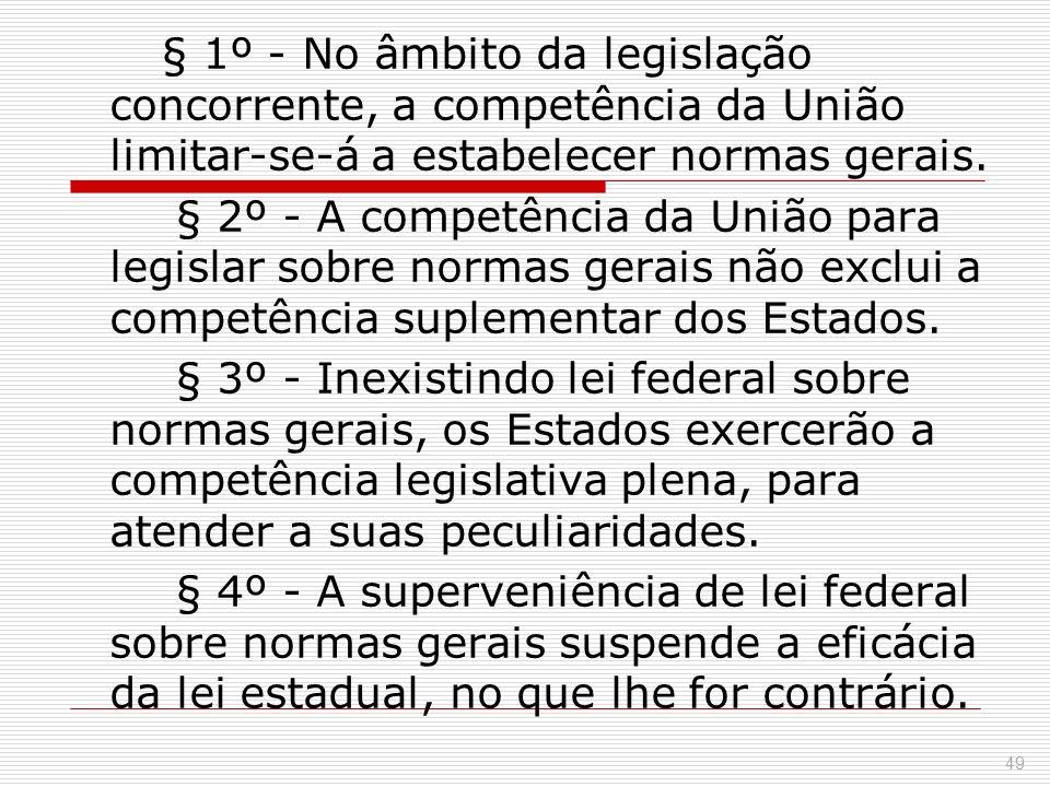 § 1º - No âmbito da legislação concorrente, a competência da União limitar-se-á a estabelecer normas gerais.