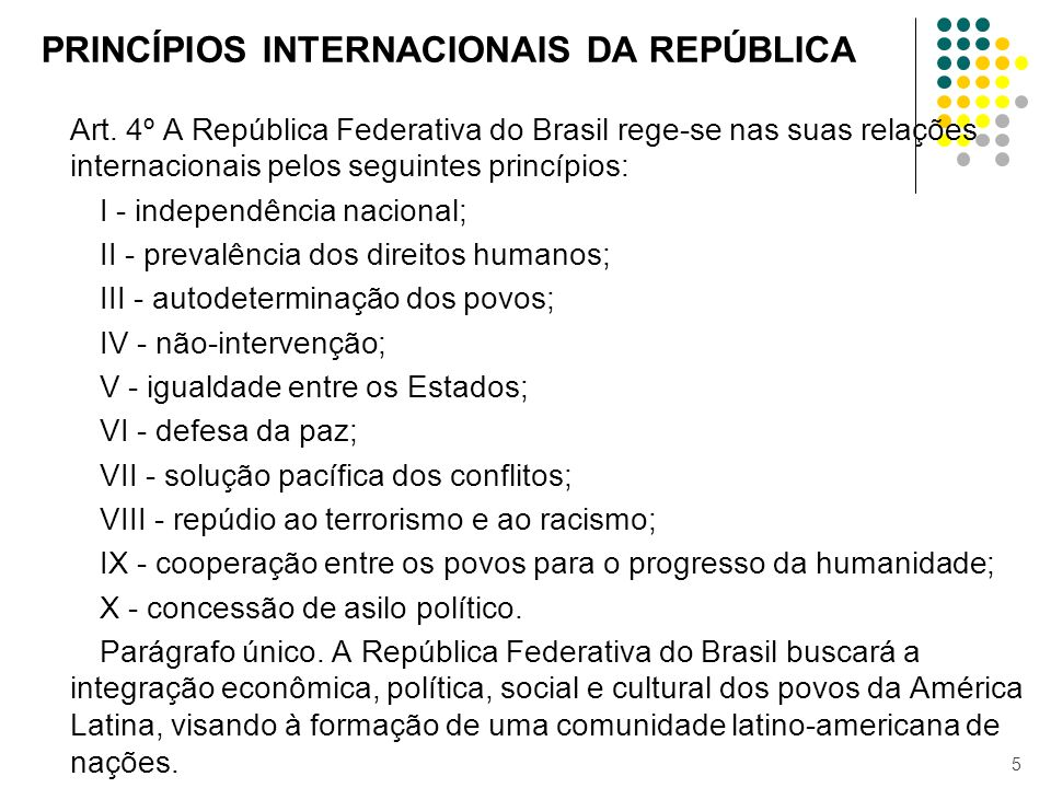 PRINCÍPIOS INTERNACIONAIS DA REPÚBLICA