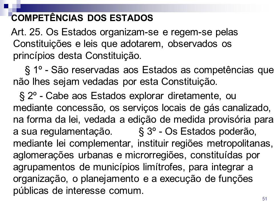 COMPETÊNCIAS DOS ESTADOS Art. 25