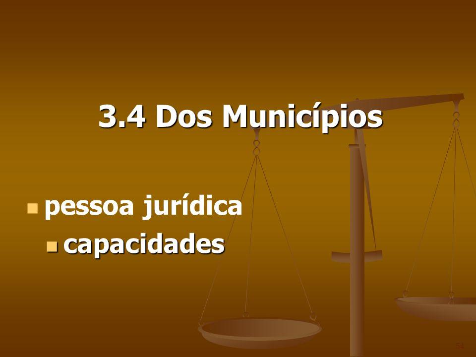3.4 Dos Municípios pessoa jurídica capacidades