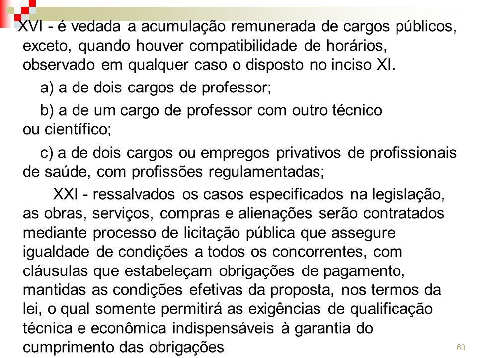 XVI - é vedada a acumulação remunerada de cargos públicos, exceto, quando houver compatibilidade de horários, observado em qualquer caso o disposto no inciso XI.
