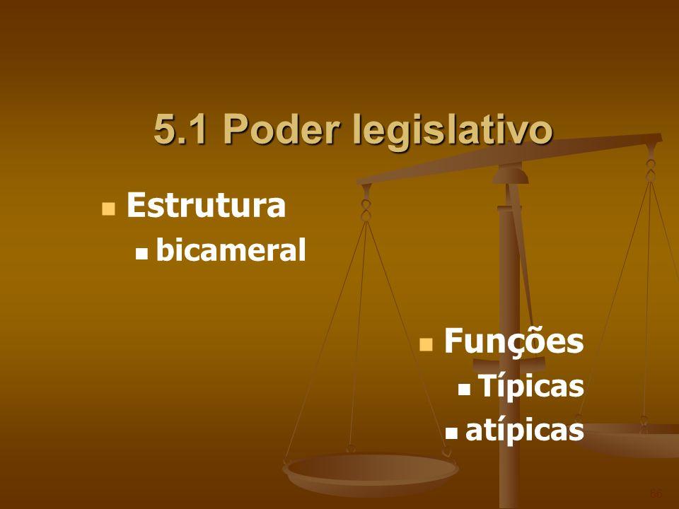 5.1 Poder legislativo Estrutura bicameral Funções Típicas atípicas 66