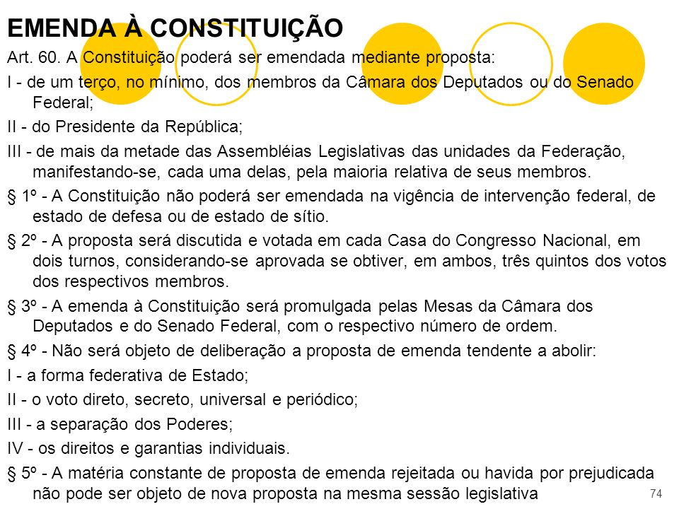 EMENDA À CONSTITUIÇÃO Art. 60. A Constituição poderá ser emendada mediante proposta: