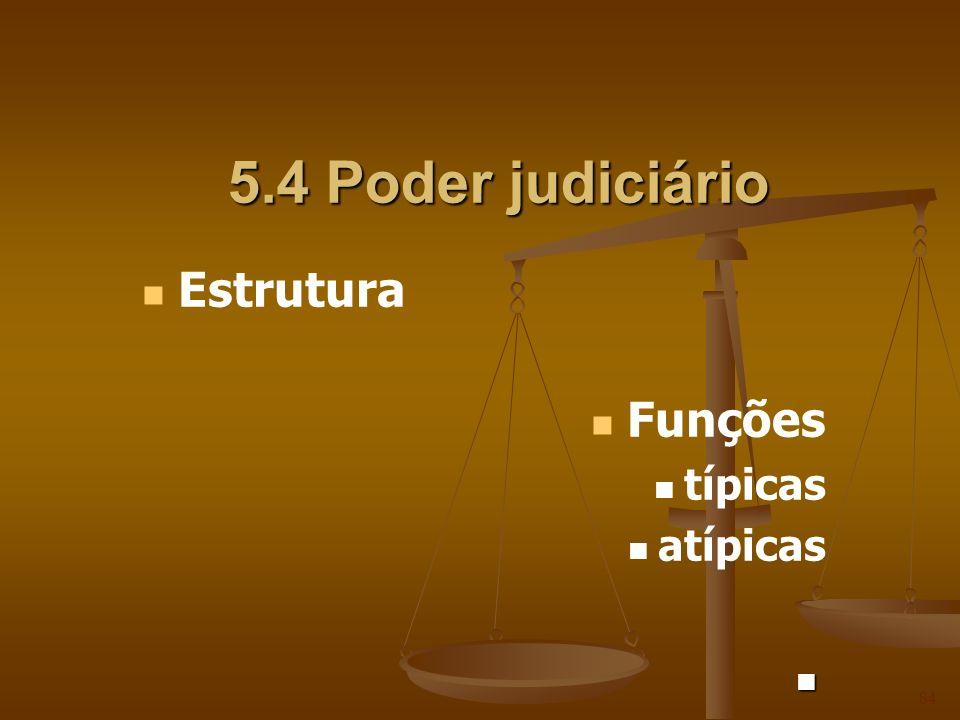 5.4 Poder judiciário Estrutura Funções típicas atípicas 84
