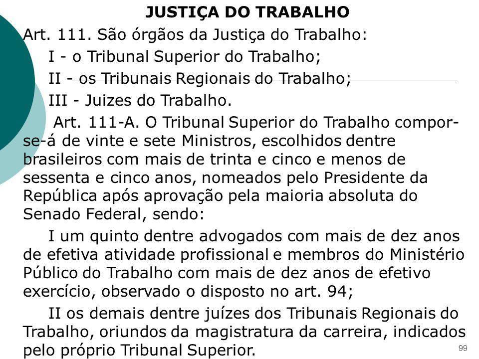 JUSTIÇA DO TRABALHO Art. 111. São órgãos da Justiça do Trabalho: I - o Tribunal Superior do Trabalho;
