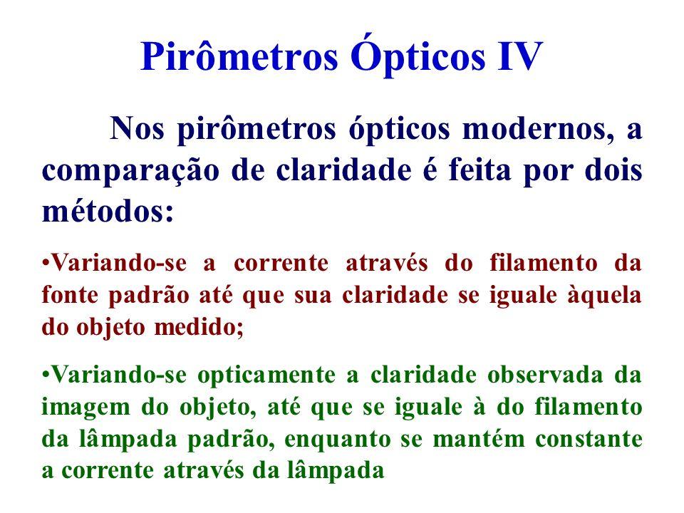 Pirômetros Ópticos IV Nos pirômetros ópticos modernos, a comparação de claridade é feita por dois métodos: