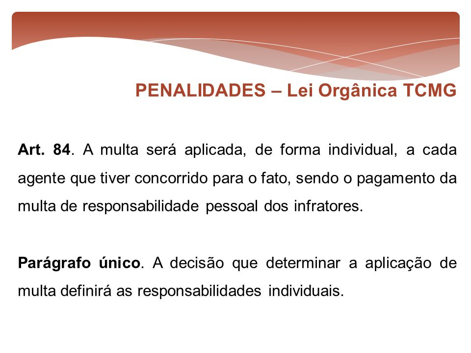 PENALIDADES – Lei Orgânica TCMG