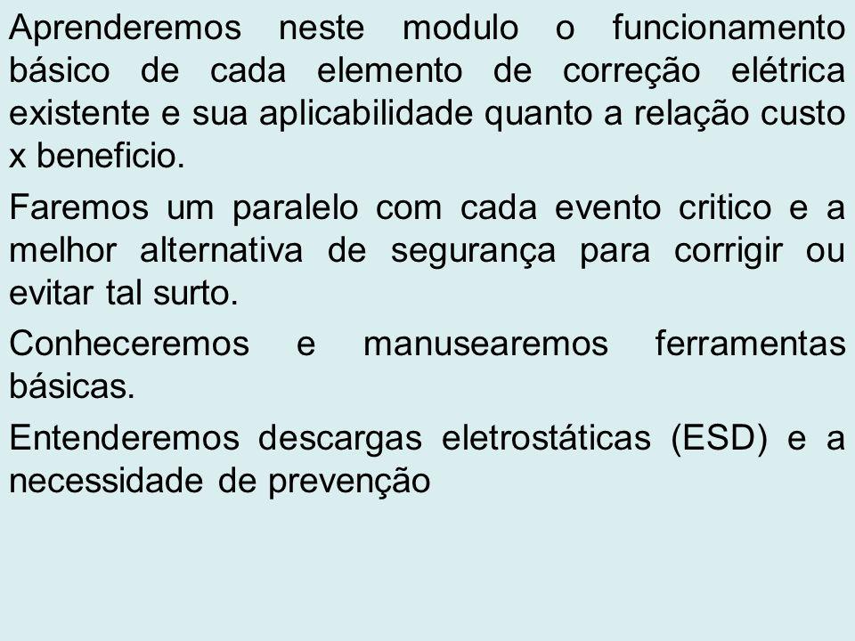 Aprenderemos neste modulo o funcionamento básico de cada elemento de correção elétrica existente e sua aplicabilidade quanto a relação custo x beneficio.