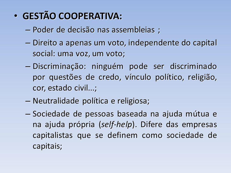 GESTÃO COOPERATIVA: Poder de decisão nas assembleias ;