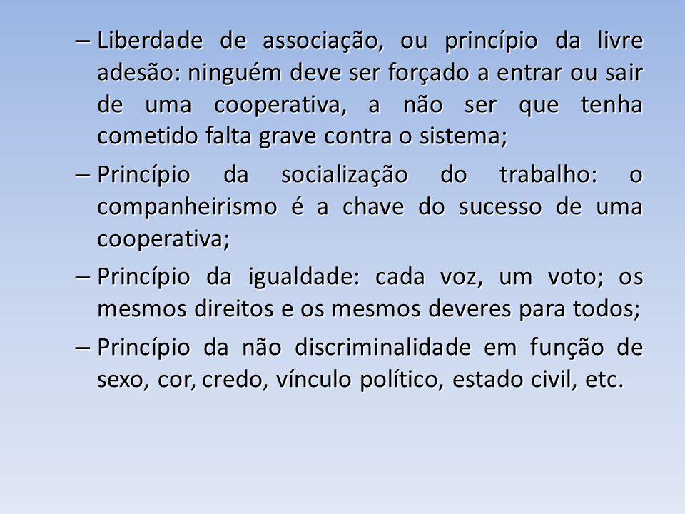 Liberdade de associação, ou princípio da livre adesão: ninguém deve ser forçado a entrar ou sair de uma cooperativa, a não ser que tenha cometido falta grave contra o sistema;