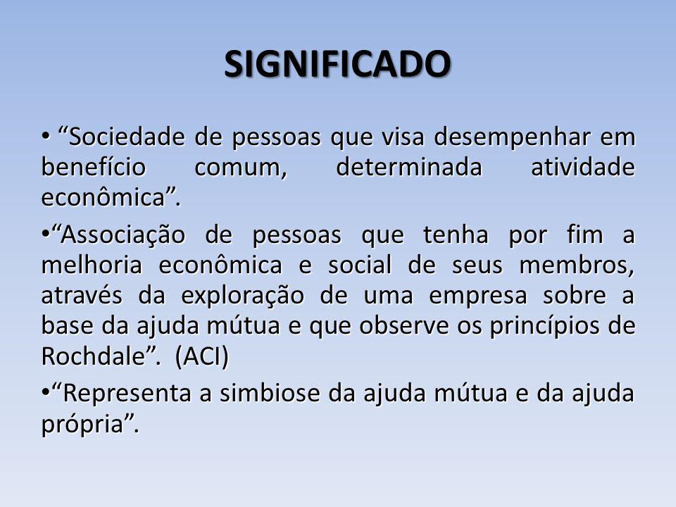 SIGNIFICADO Sociedade de pessoas que visa desempenhar em benefício comum, determinada atividade econômica .