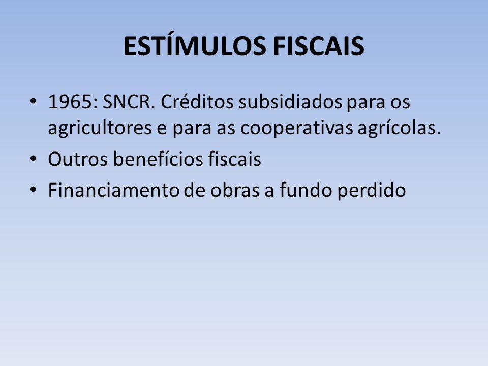 ESTÍMULOS FISCAIS 1965: SNCR. Créditos subsidiados para os agricultores e para as cooperativas agrícolas.