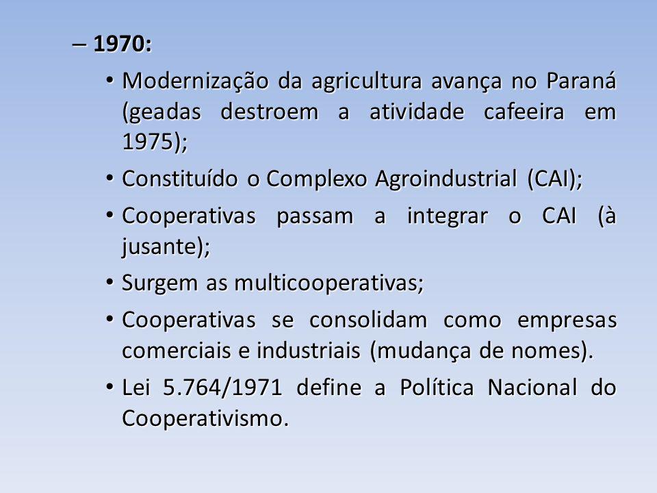 1970: Modernização da agricultura avança no Paraná (geadas destroem a atividade cafeeira em 1975); Constituído o Complexo Agroindustrial (CAI);